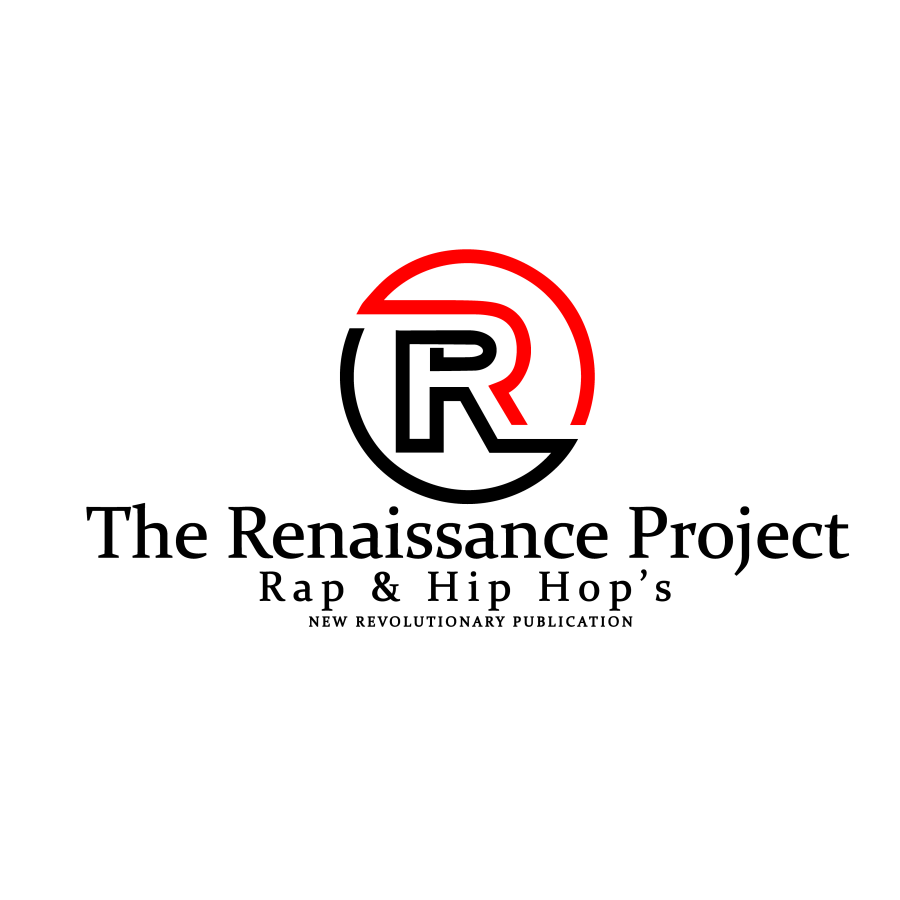"""Alt text: A logo with a """"R"""" encircled in black and red with the words """"Rap & Hip Hop's New Revolutionary Publication"""" encircling it."""
